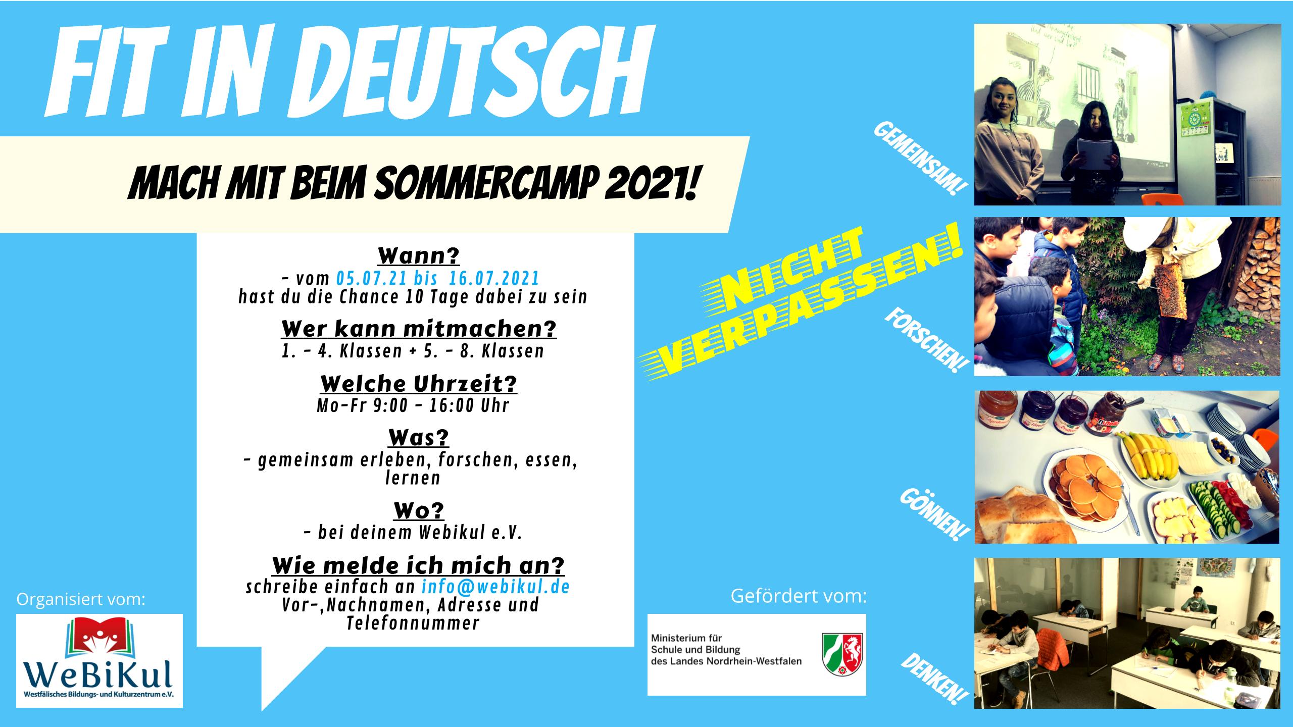Flyer - FIT in Deutsch - WeBiKul e.V. Sommer'21 (bis 8. Klasse)